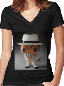 Smooth Criminal Women's Fitted V-Neck T-Shirt