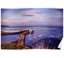 Whitby harbour at first blue light Poster