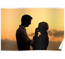 Young couple after getting engaged Poster