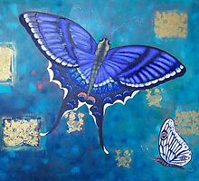 Big Purple Butterfly with little white one. by Brita Lee
