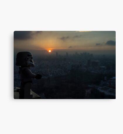 Lego Stormtrooper X Sunset in Roppongi Canvas Print