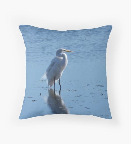 Egret and Reflection Throw Pillow