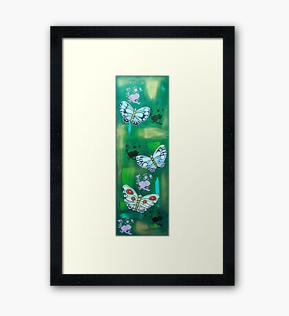 White Butterflies with Cherry Blossoms. Framed Print