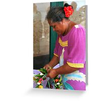 Making Flower Headbands in Raiatea Greeting Card