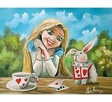 Alice in wonderland the white rabbit oil painting Photographic Print