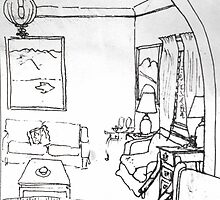 Pen and ink sketch of my lounge room by Richard  Tuvey