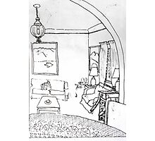 Pen and ink sketch of my lounge room Photographic Print