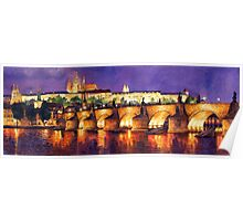 Prague Night Panorama Charles Bridge Poster