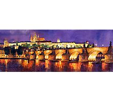 Prague Night Panorama Charles Bridge Photographic Print