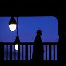 Paris - Silhouette on blue. by Jean-Luc Rollier