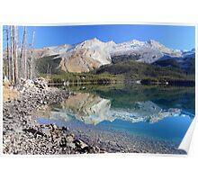 Morning reflection at Maligne lake in Jasper National park Poster