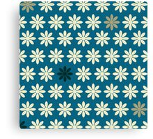 Super Cute Retro Floral - Teal and Tan Canvas Print