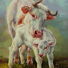 Bonded-Cow And Calf by Margaret Stockdale