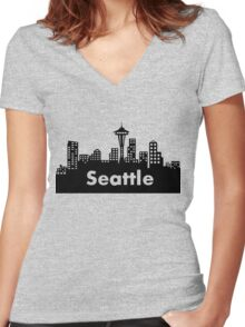 Seattle - (2) Women's Fitted V-Neck T-Shirt