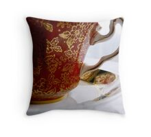 red teacup Throw Pillow