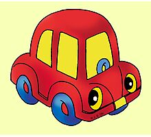 Red toy little car Photographic Print