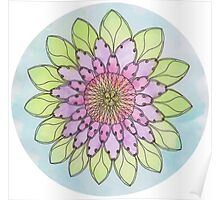 Flower mandala watercolor and pen Poster