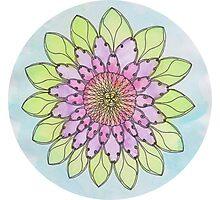 Flower mandala watercolor and pen Photographic Print