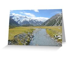A mountain valley, near Mt Cook, NZ Greeting Card