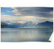 Clouds gathering over Mt Cook, NZ Poster