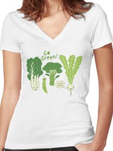 Go Green! (Leafy Green!) Women's Fitted V-Neck T-Shirt