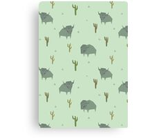 Bison Pattern Pistachio Canvas Print