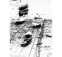 Low-Tide Boats - Mousehole Harbour, West Cornwall Photographic Print