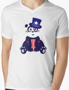 Patriotic Panda Mens V-Neck T-Shirt