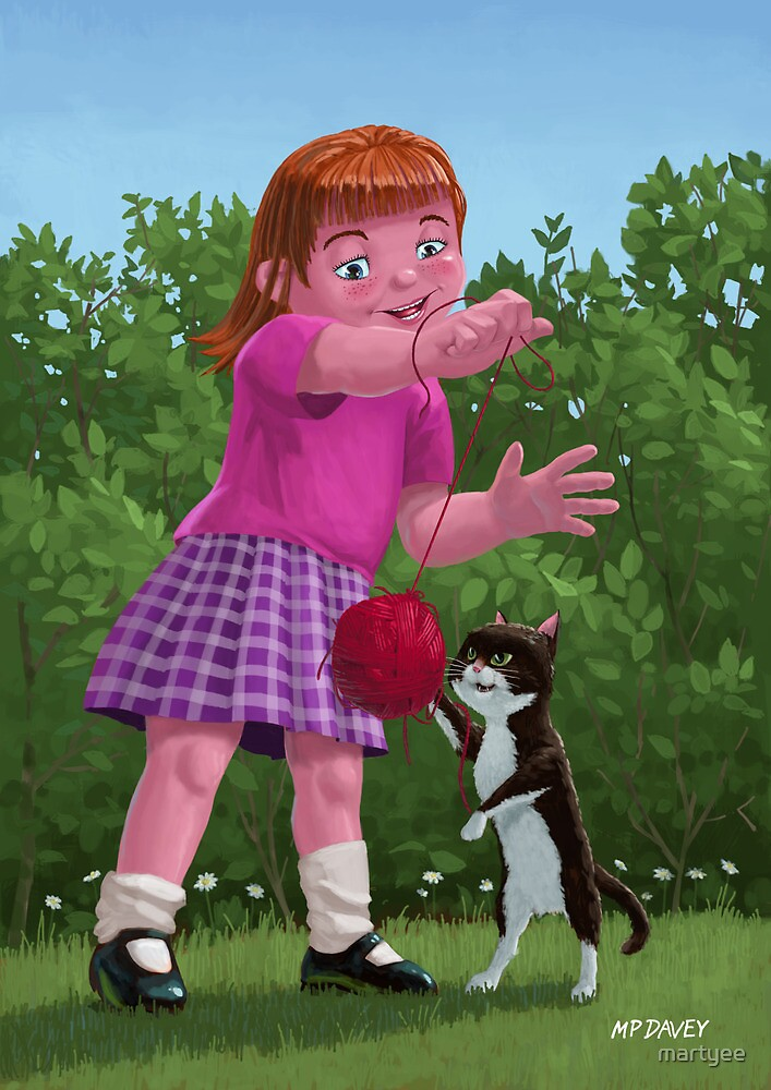 cat and girl playing by martyee