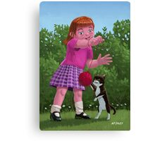 cat and girl playing Canvas Print