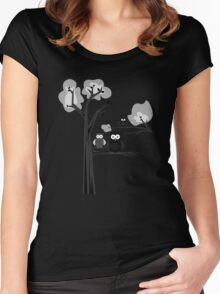 Black & White Owls Women's Fitted Scoop T-Shirt