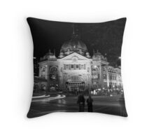 Flinders Street by Night Throw Pillow