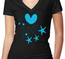 I loveKPOP txt hearts stars vector graphic art  Women's Fitted V-Neck T-Shirt