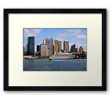 cruise ship moored in sydney harbour Framed Print