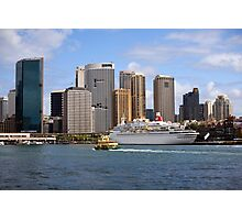 cruise ship moored in sydney harbour Photographic Print