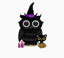 Black Owl Witch Womens Fitted T-Shirt