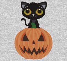Black Kitten & Jack O Lantern Kids Clothes