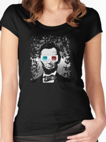 Abraham Lincoln - 3D (2) (Black) Women's Fitted Scoop T-Shirt