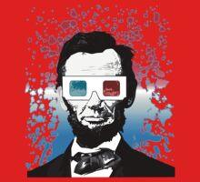 Abraham Lincoln - 3D (Black) Kids Tee