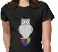 Rainbow Owl (black) Womens Fitted T-Shirt