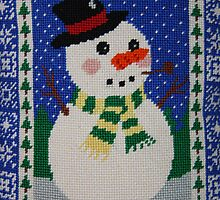 Snowman Enjoying the Snowy Night by daphsam