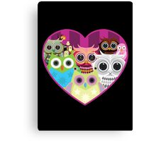 Love Owls 1 (black) Canvas Print