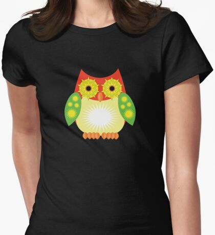 Star Owl - Red Yellow Green 2 Womens Fitted T-Shirt
