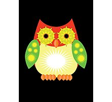 Star Owl - Red Yellow Green 2 Photographic Print