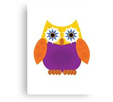 Star Owl - Yellow Orange Purple Canvas Print