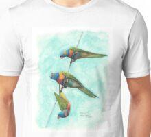 Rainbow Lorikeets on Wire Unisex T-Shirt