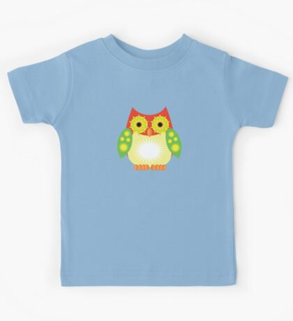 Star Owl - Red Yellow Green Kids Tee