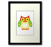 Star Owl - Red Yellow Green Framed Print
