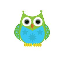 Star Owl - Green Blue Photographic Print