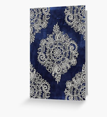 Cream Floral Moroccan Pattern on Deep Indigo Ink Greeting Card